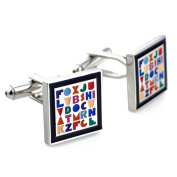 Black Square and Colourful Letter Cufflinks