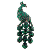 Emerald Green Drip Drop Peacock Crystal Pin Brooch
