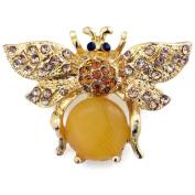 Golden Brown Bee Crystal Pin Brooch