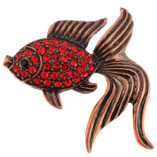 Red Goldfish Crystal Pin Brooch