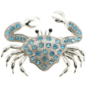 Turquoise Blue Crab Crystal Pin Brooch