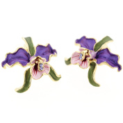 Provence Lavender Purple Orchid With Green Leaves Pierced Flower Earrings
