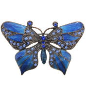Blue Butterfly Crystal Pin Brooch