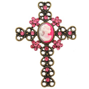 Vintage Style Pink Cameo Cross Crystal Brooch Pendant
