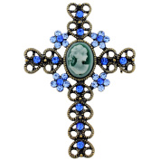 Vintage Style Sapphire Blue Cameo Cross Crystal Brooch/Pendant
