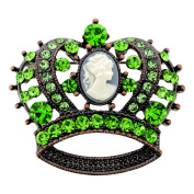 Vintage Style Green Crystal Cameo Crown Pin Brooch