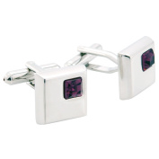 Amethyst Silver Square with Purple Crystal Cufflinks