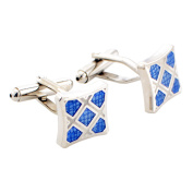 Blue and Silver Plaid Cufflinks