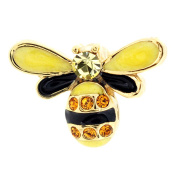 Golden Bee Bug . Crystal Lapel Pin