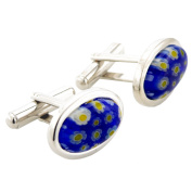Floral style Venetian Millefiori Blue and Yellow Cufflinks