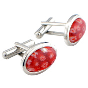 Floral style Venetian Millefiori Red and White Cufflinks