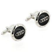 Black and Silver Audi Logo Automotive Car Cufflinks