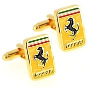 Golden Ferrari Logo Automotive Car Cufflinks