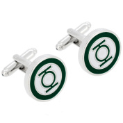 Officially Licensed Green Lantern and White Enamel Cufflinks