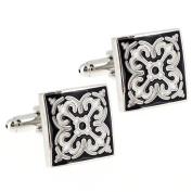 Fleur-De-Lis Black and White Enamel Square Cufflinks