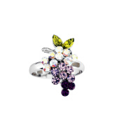 Silver Plated Multircolor Crystal Grape Adjustable Ring