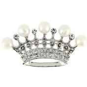 Silver Crown With Pearl Brooch Pin