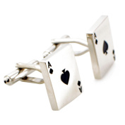Silver Aces Poker Game Cufflinks