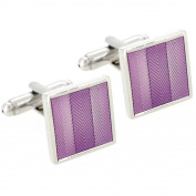 Purple Enamel Stripe Square Cufflinks