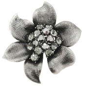 Antique Style Black Flower Crystal Pin Brooch