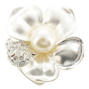 White Pearl Flower Pin Brooch