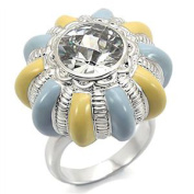 Silver Plated Blue and Yellow Enamel Flower Classic CZ Ring
