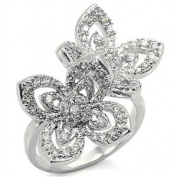 Silver Plated Double Lucky Flower Clear Crystal Classic CZ Ring