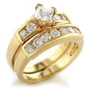 Gold Plated Two Wedding Classic CZ Ring