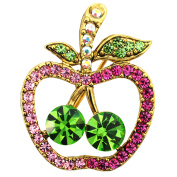 Multi Fuchsia Apple Crystal Fruit Pin Brooch