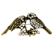 Vintage Style Couple Sparrows Crystal Bird Pin Brooch