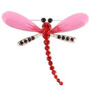 Pink Dragonfly Crystal Pin Brooch