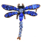 Vintage Style Sapphire Blue Dragonfly Crystal Pin Brooch