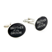 Brother of The Groom Silver and Black Wedding Cufflinks