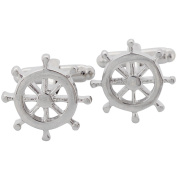 Ships Wheel Cufflinks Silver Cuff links