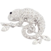 Silver Chameleon Reptile Crystal Pin Brooch
