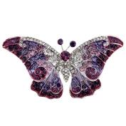 Purple Crystal Butterfly Pin Brooch