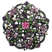 Multicolor Flower Bridal Wedding Crystal Brooch Pin and Pendant
