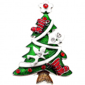 Christmas Tree with Ornaments Crystal Pin Brooch