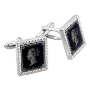 One Penny Stamp Cufflinks Green Postage Cuff-links