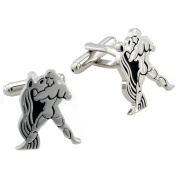 Aquarius Astrology Sign Cufflinks Black and Silver Cuff links