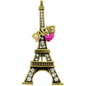 Pink Heart Paris Eiffel Tower . Crystal Brooch and Pendant