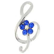 Music Note with Blue Flower Crystal Pin Brooch