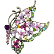 Multi Purple Flying Butterfly . Crystal Brooch Pin