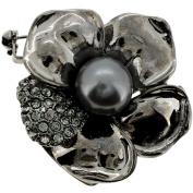 Black Flower Crystal Pin Brooch