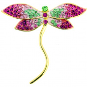 Multi Pink Dragonfly . Crystal Pin Brooch