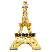 Golden Eiffel Tower Crystal Brooch and Pendant