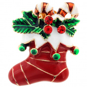 Red Stocking with Ornaments . Crystal Christmas Lapel Pin