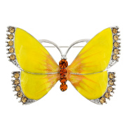 Yellow Butterfly Crystal Pin Brooch