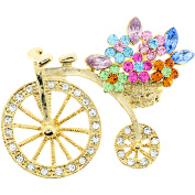 Flower Basket Crystal Bicycle Pin Brooch