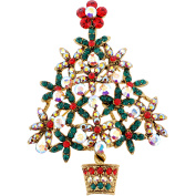 Multicolor Potted Christmas Tree Flower . Crystal Brooch and Pendant